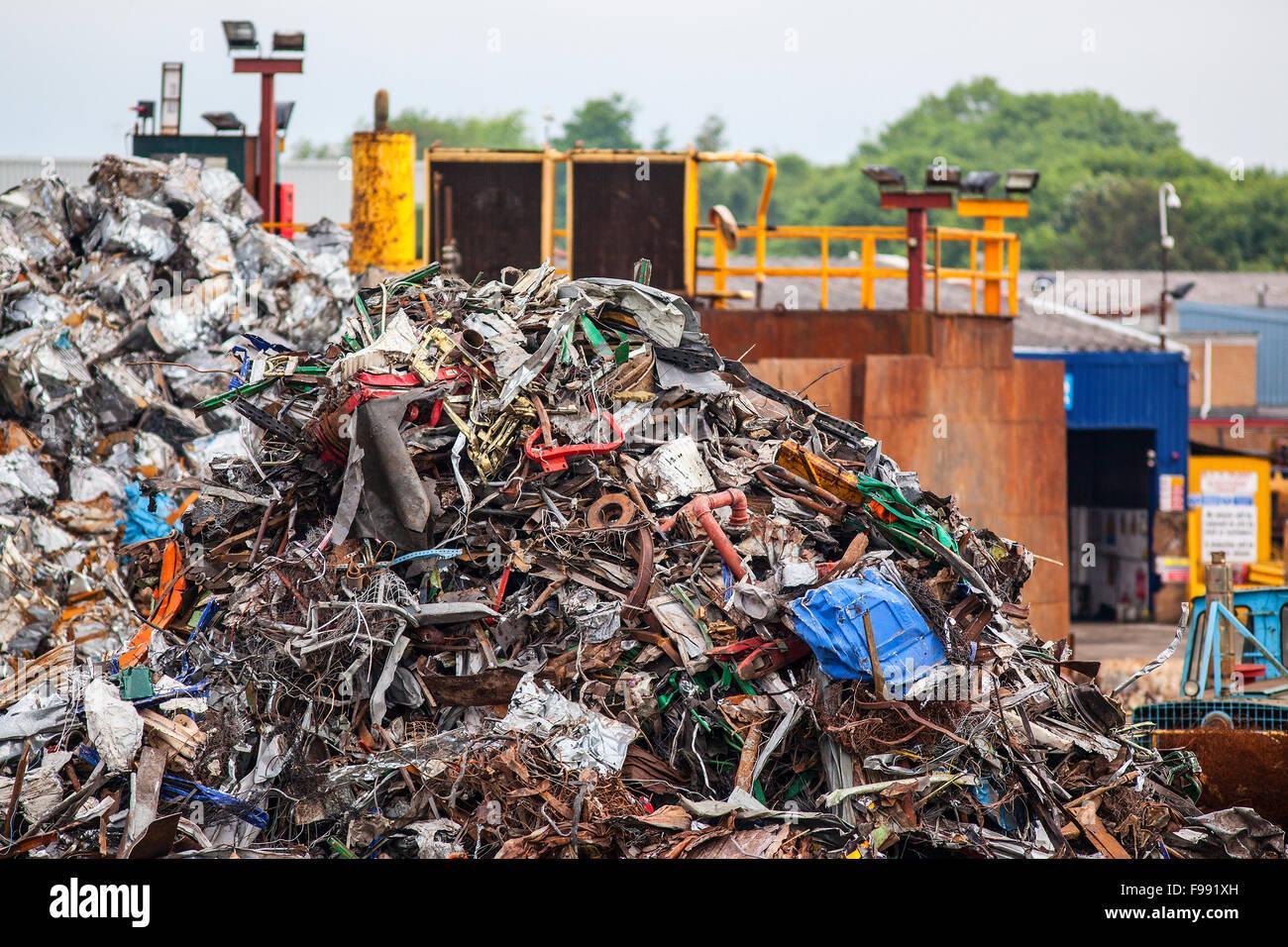 Pile of scrap metal  in junk yard - Stock Image