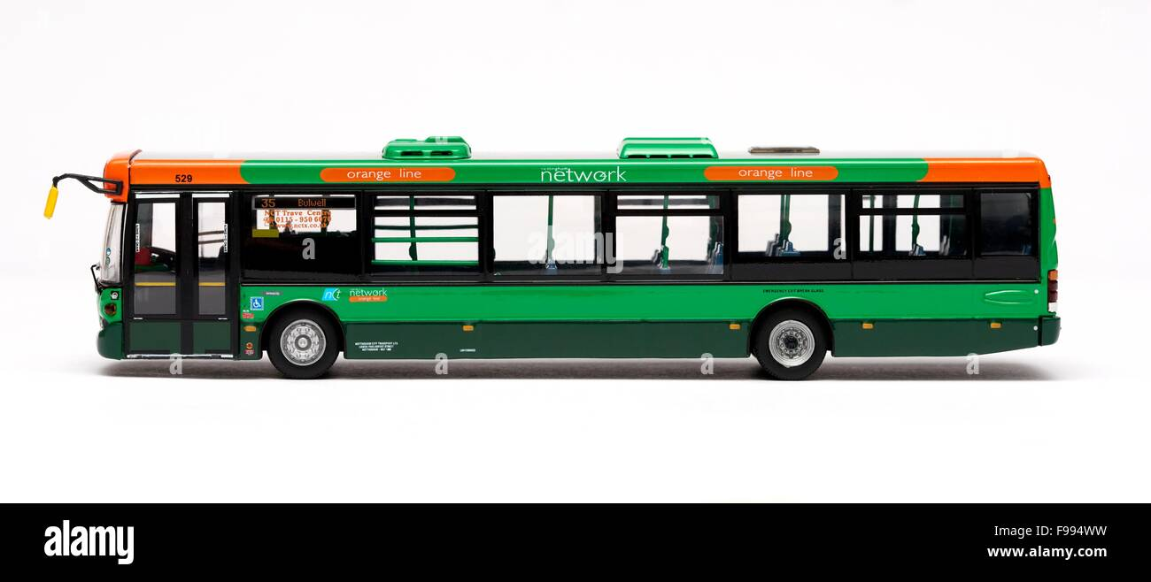 A scale model of a scania Omnicity single decker bus in Nottingham city transport livery - Stock Image