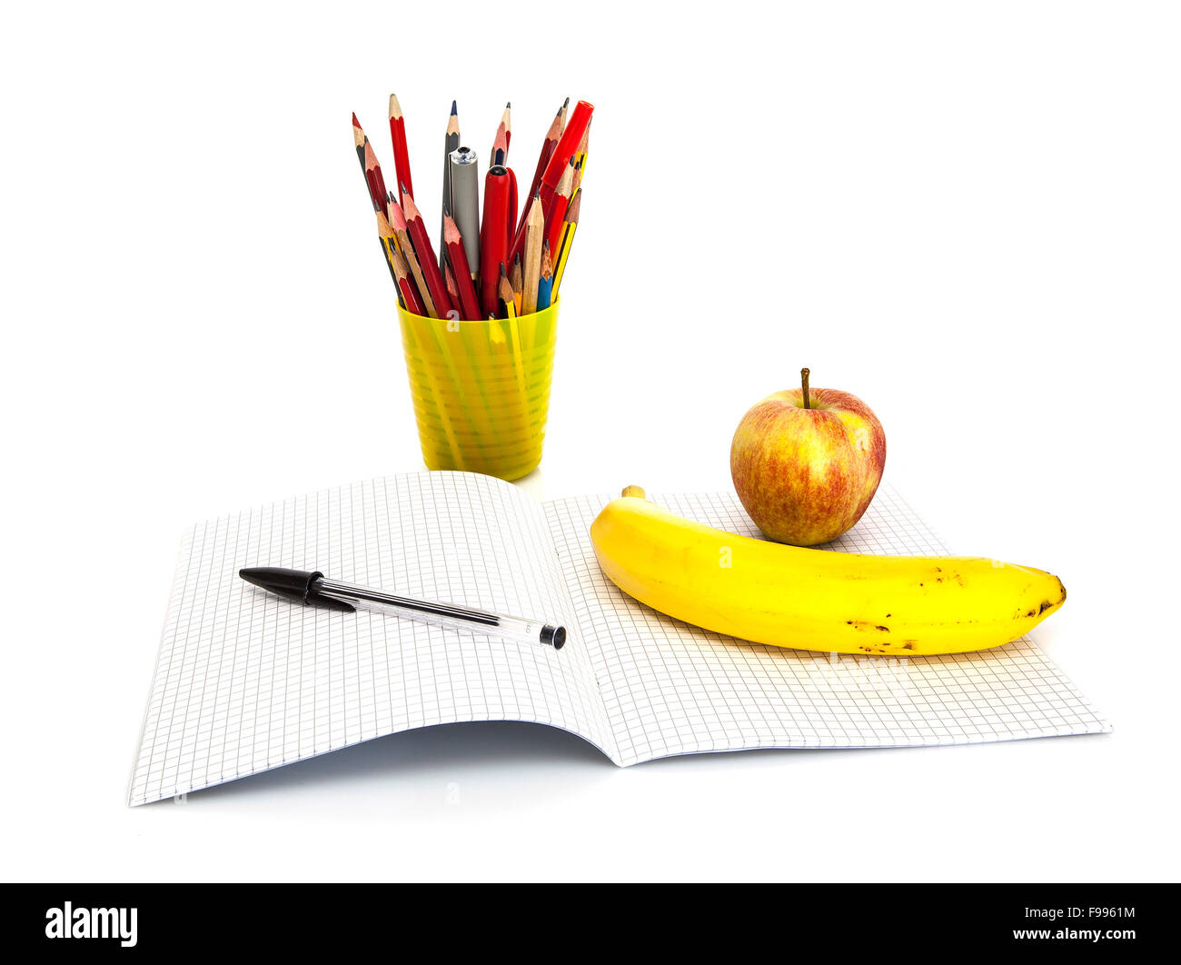School and office stationary isolated on white. Back to school concept - Stock Image
