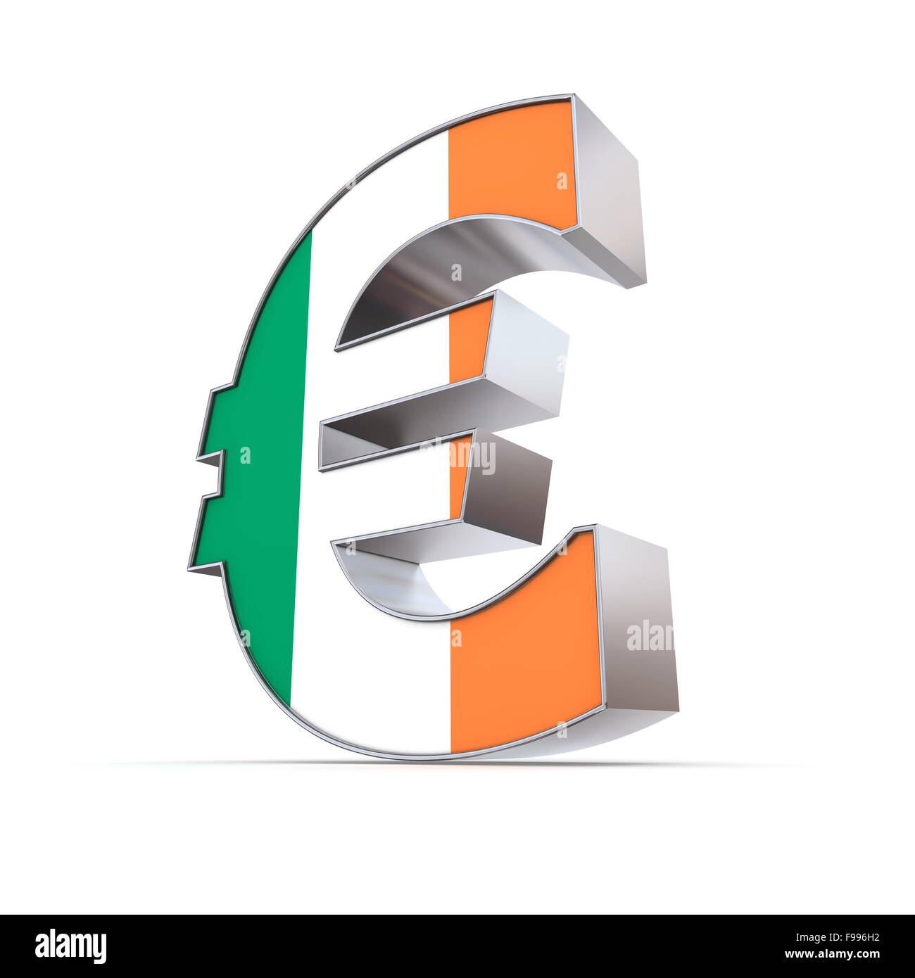 Shiny Euro Symbol - Textured Front - Flag of Ireland - Stock Image