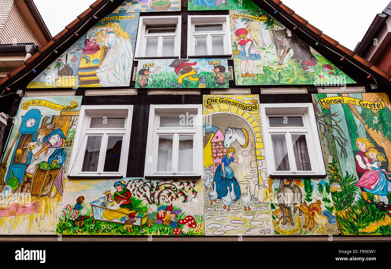 Painted house in the fairy tale town Steinau an der Straße, with scenes from the brothers Jacob and Wilhelm Grimm Stock Photo