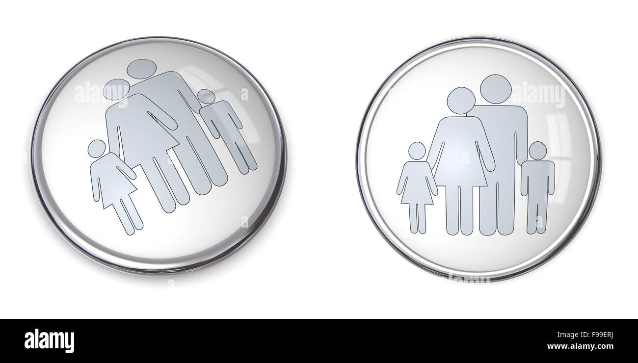 3D Button Family With Kids Pictogram - Stock Image