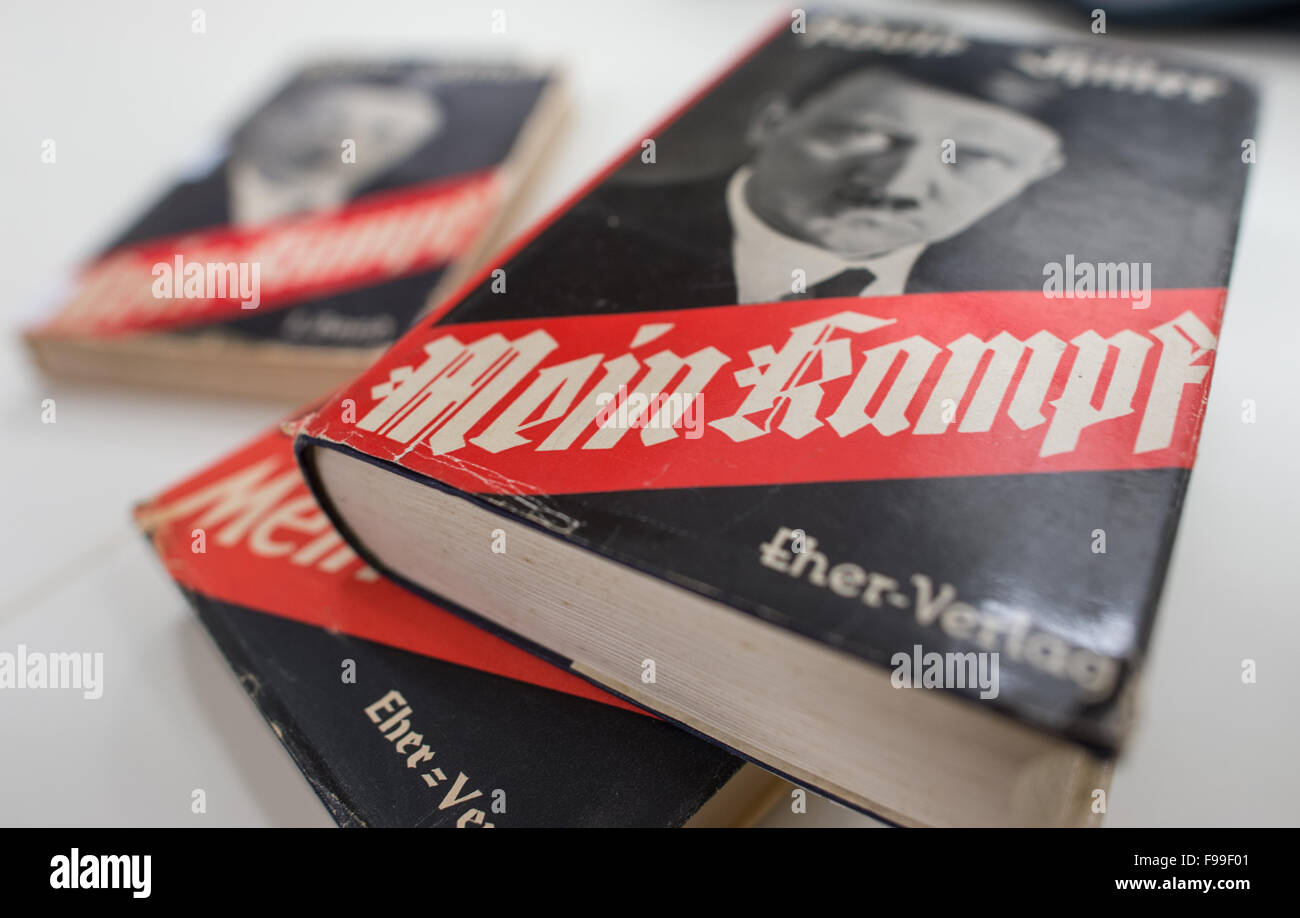 Munich, Germany. 11th Dec, 2015. Various edition of Adolf Hitler's book 'Mein Kampf' featuring a portrait - Stock Image