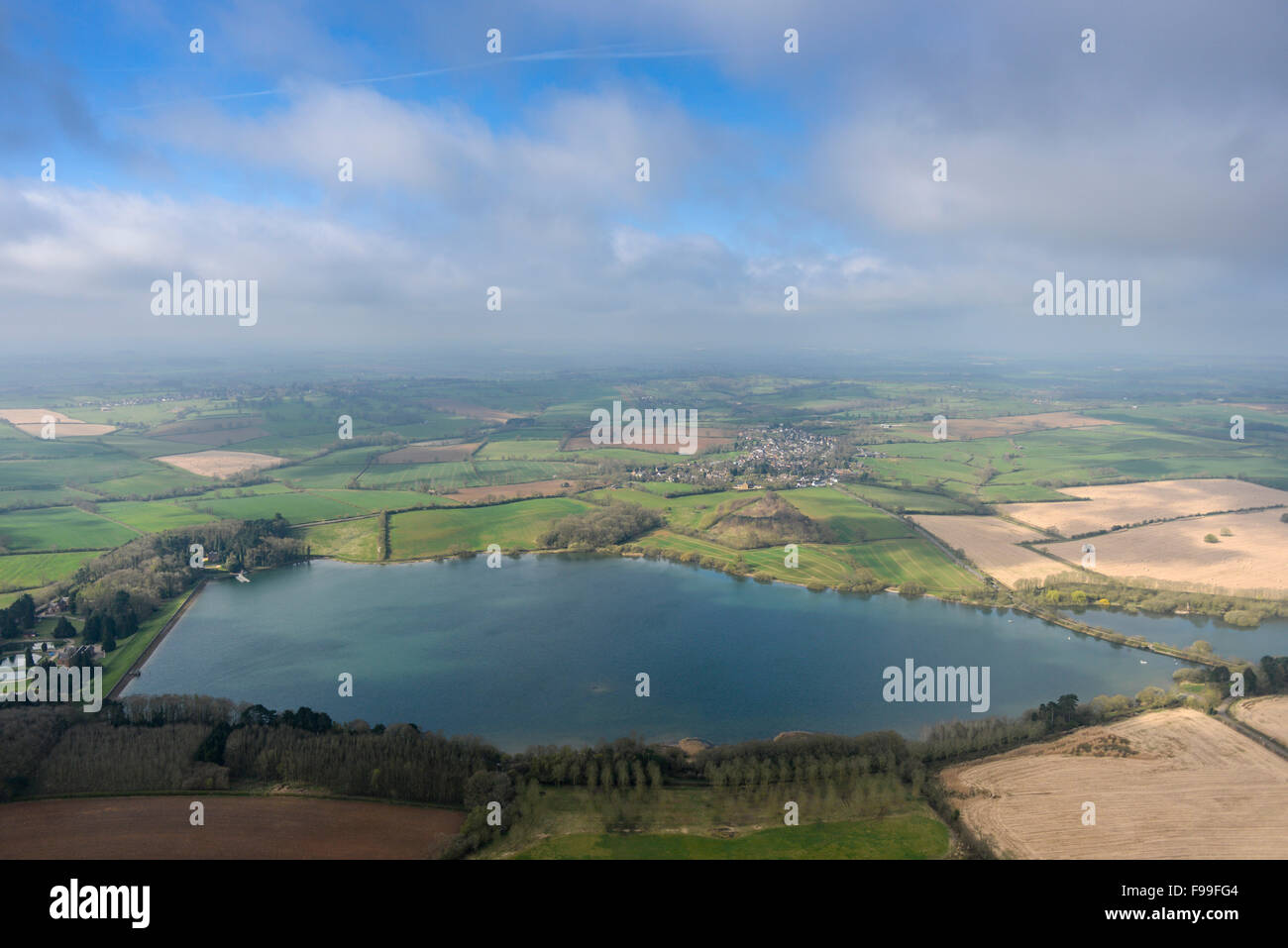 An aerial view of the Ravensthorpe Reservoir in Northamptonshire - Stock Image