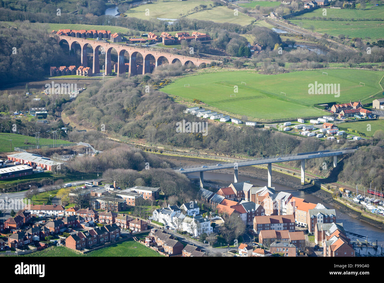 An aerial view of the River Esk near the North Yorkshire town of Whitby - Stock Image