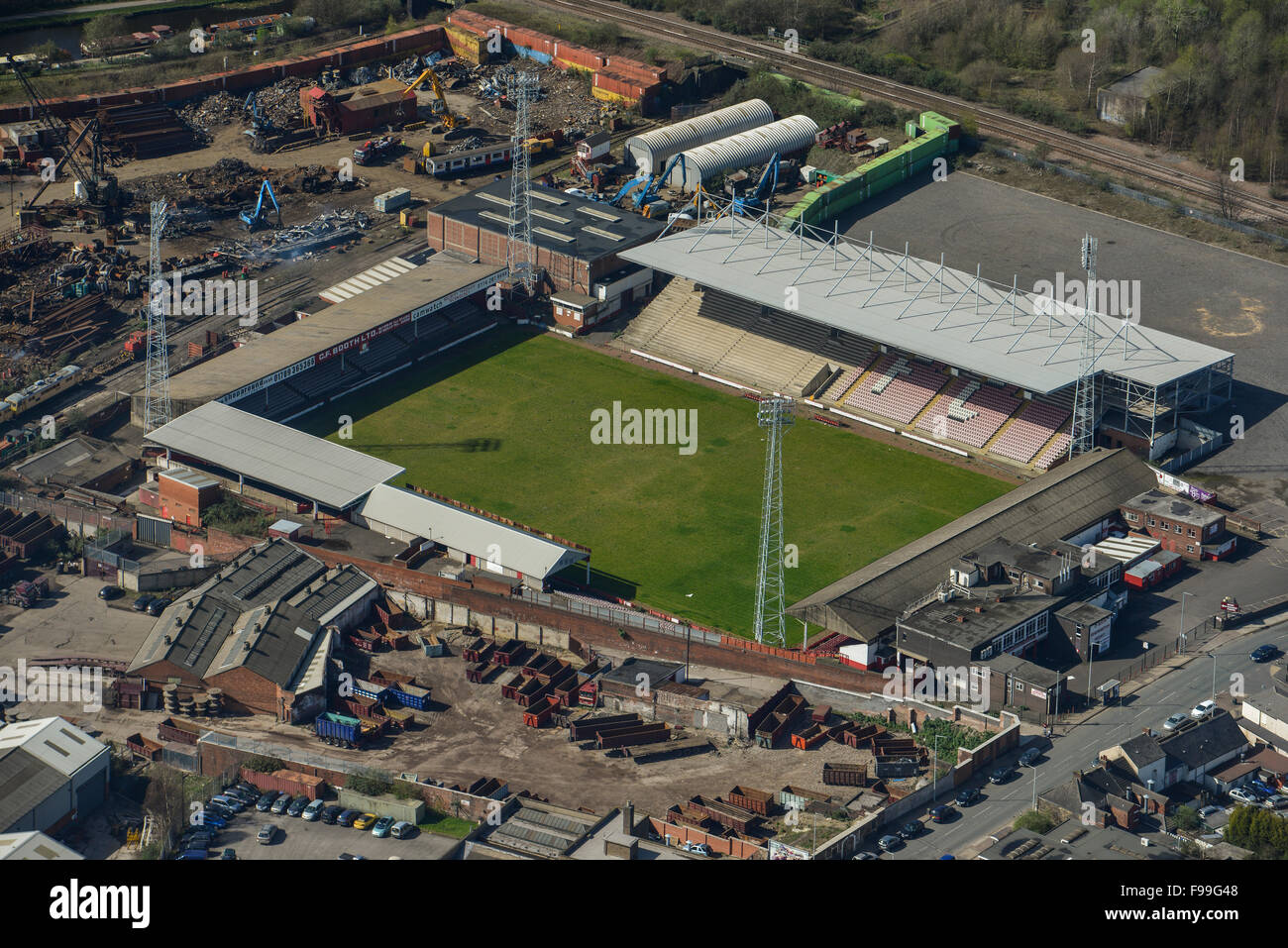 An aerial view of Millmoor, the former home of Rotherham United FC - Stock Image