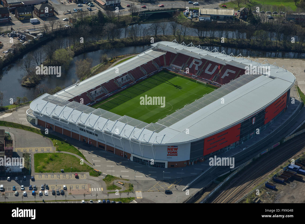 An aerial view of the New York Stadium, home of Rotherham United FC - Stock Image
