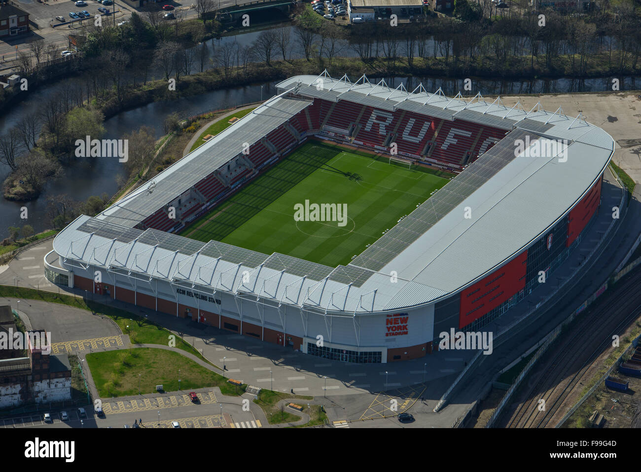 An aerial view of the New York Stadium, home of Rotherham United - Stock Image