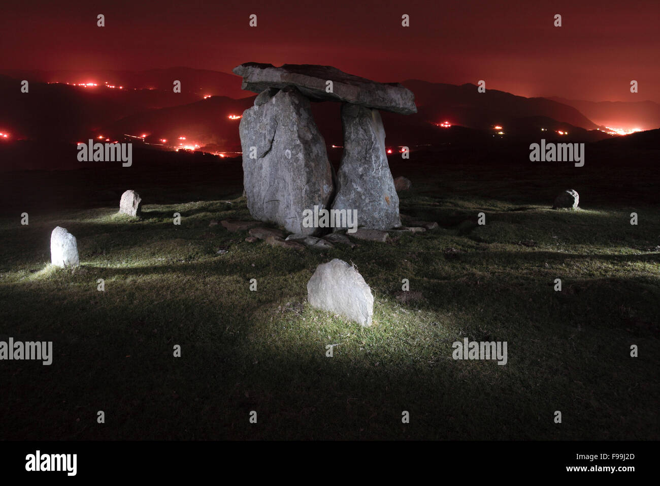 Dolmen in the night of Oiz mountain, Basque Country - Stock Image