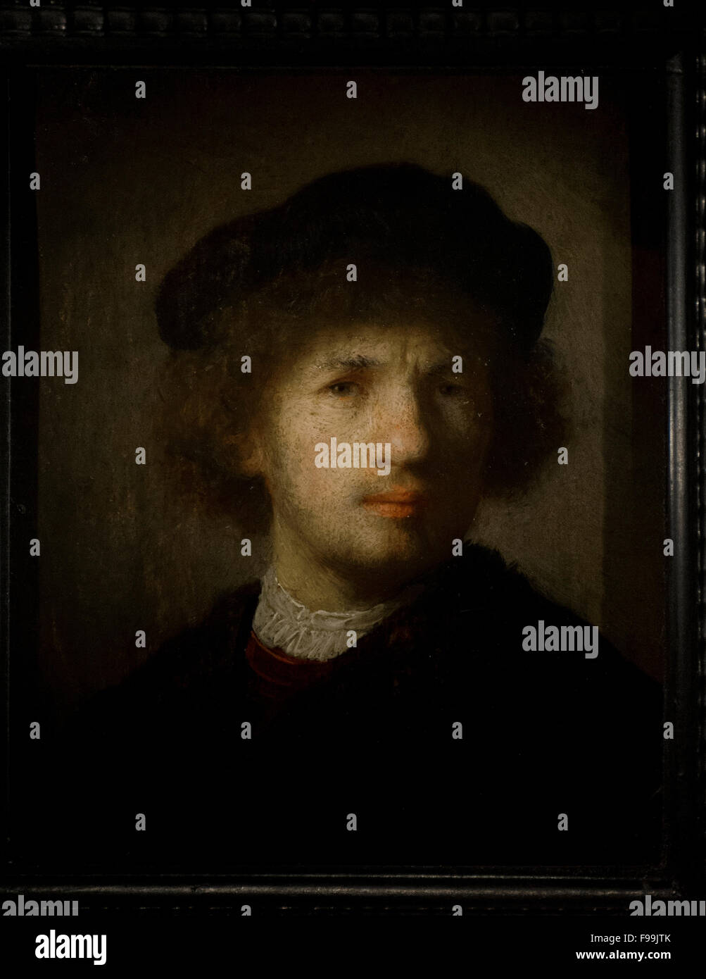 Rembrandt Harmenszoon van Rijn (1606-1669). Dutch painter. Selfportrait, 1630. National Museum. Stockholm. Sweden. - Stock Image