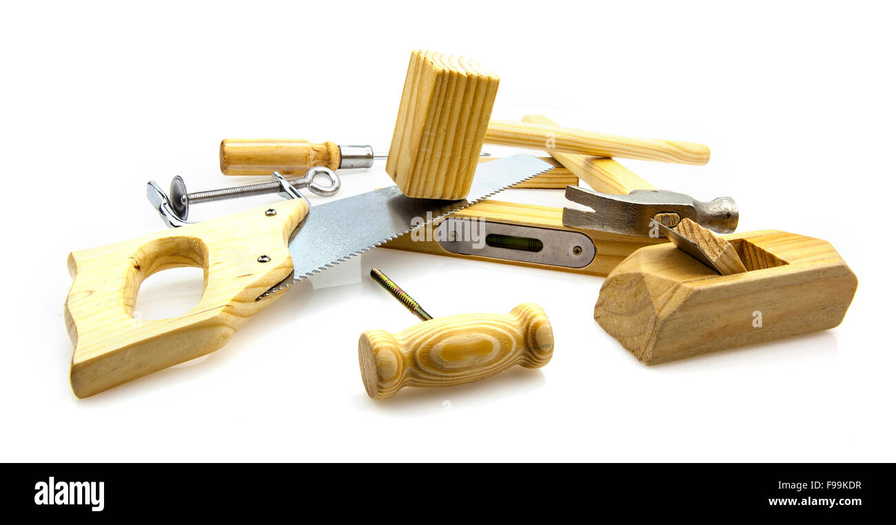 Woodwork Tools on white background - Stock Image