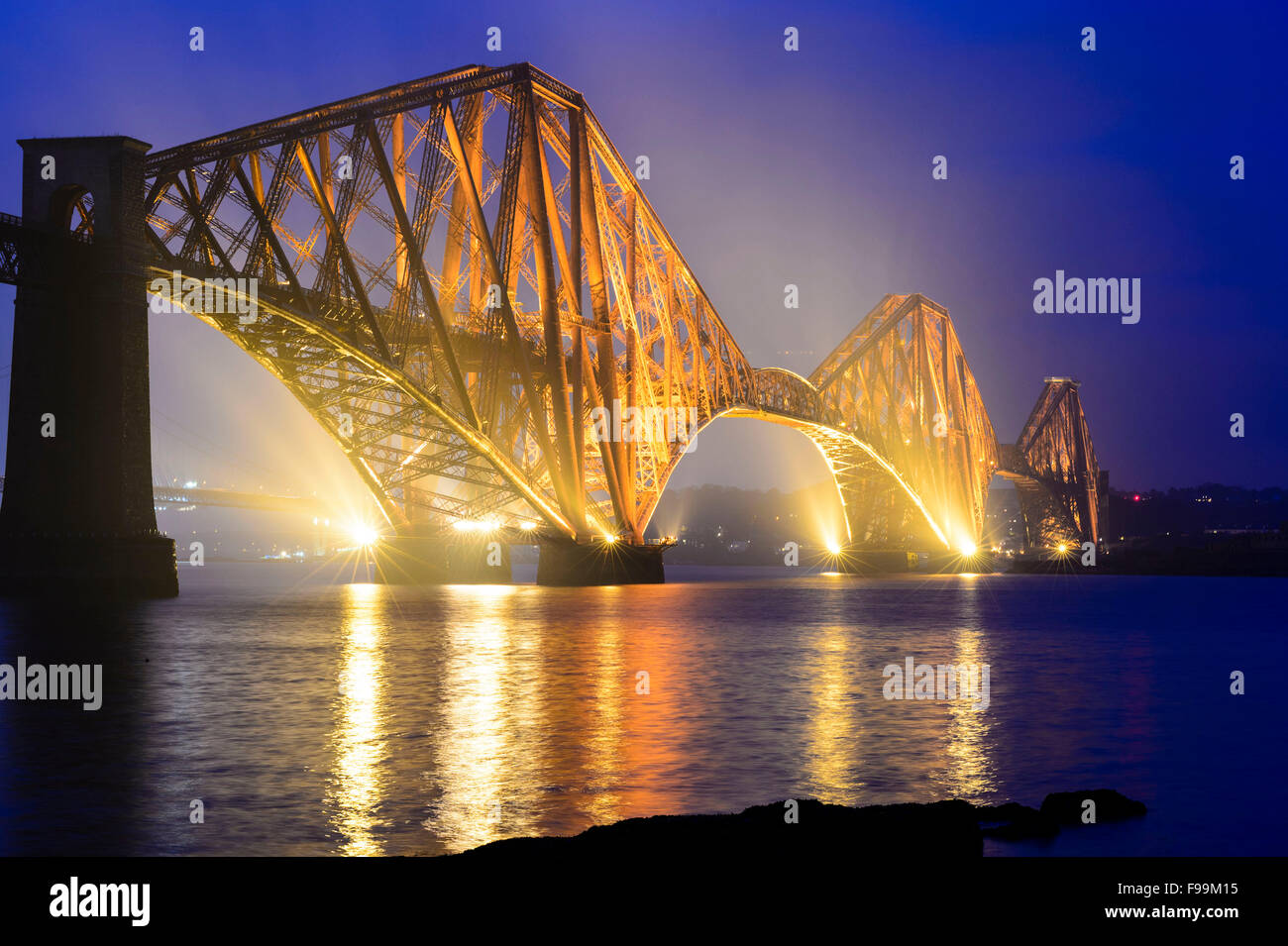 The Forth Rail Bridge during blue hour - Stock Image