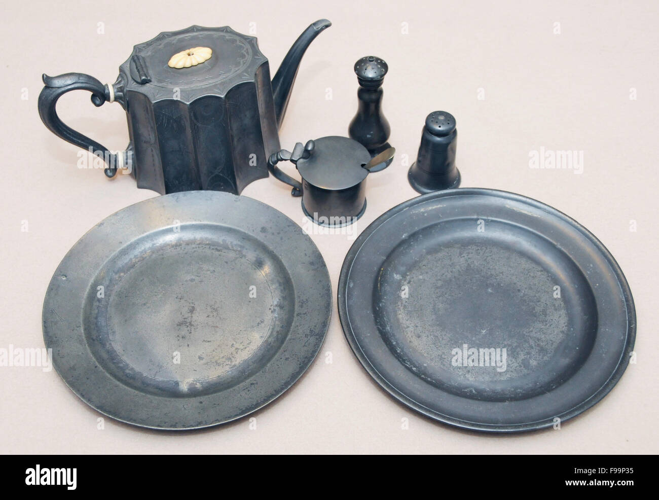 Vintage antique pewter items - Stock Image