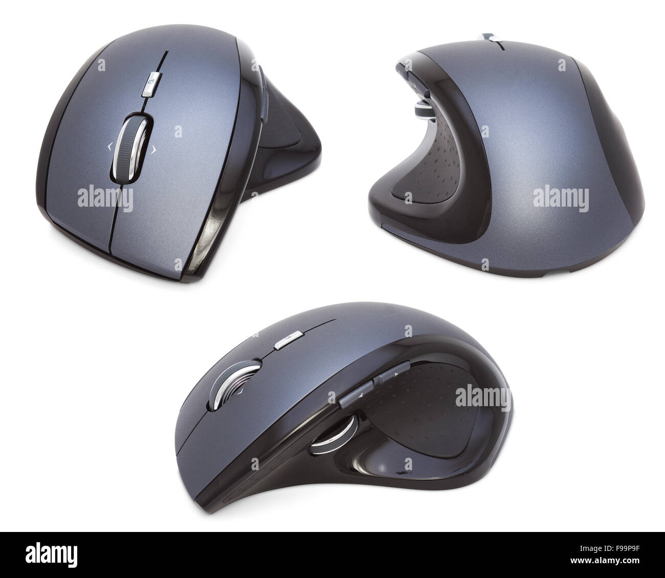 Three Modern Ergonomic Mouses isolated - Stock Image