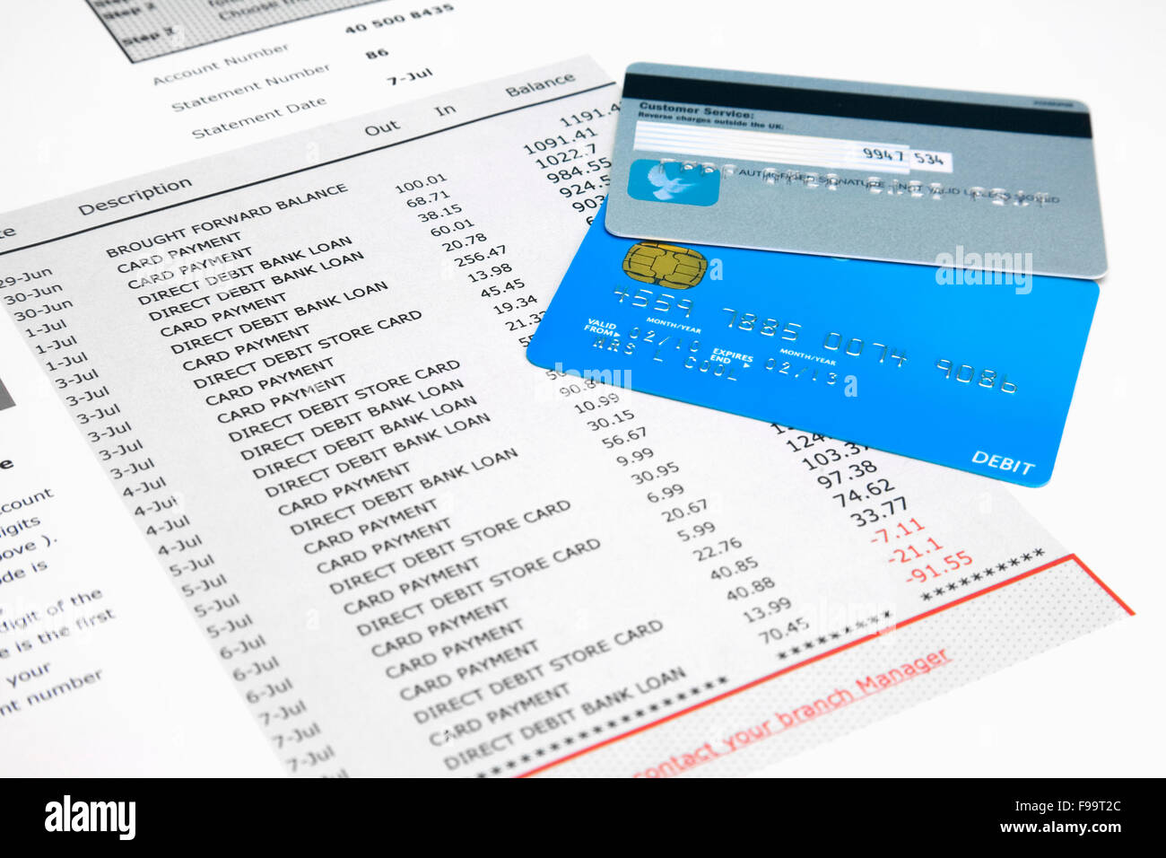 Selection Of Credit Cards On Top Of Fake Bank Statements