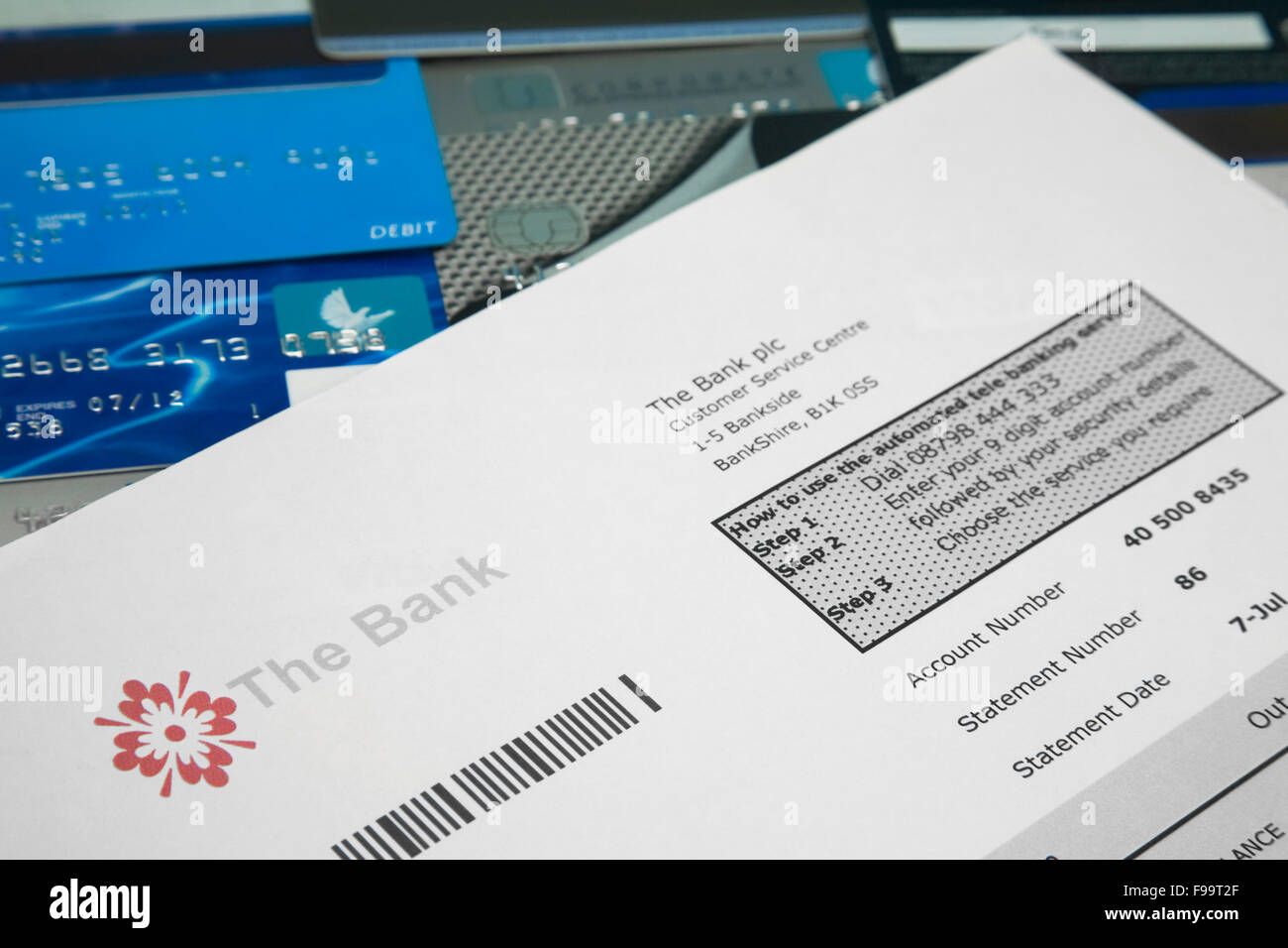 Fake Bank Statement On Top Of A Selection On Bank And Credit