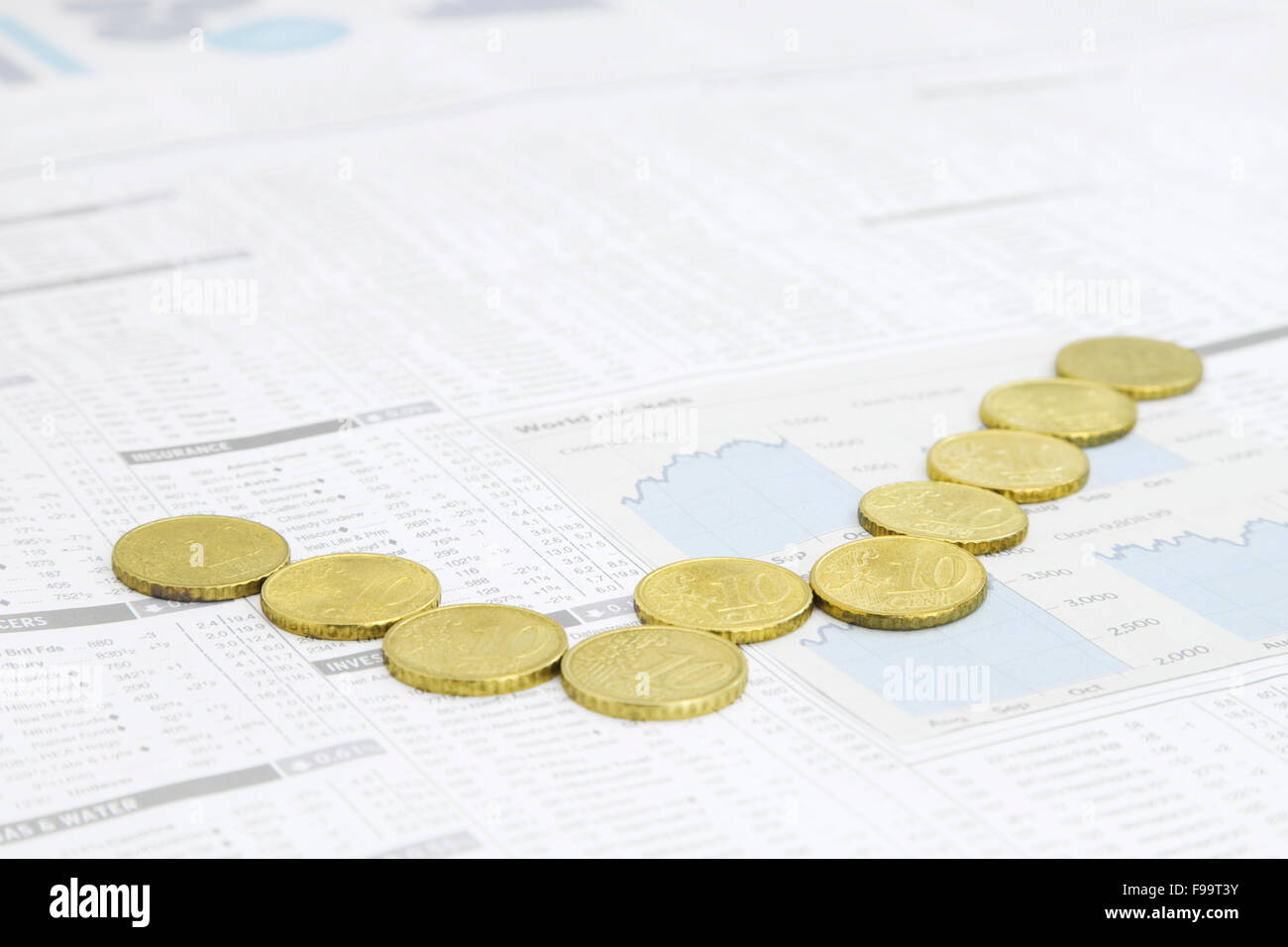 Financial Chart made out of European Union Currency positioned o - Stock Image