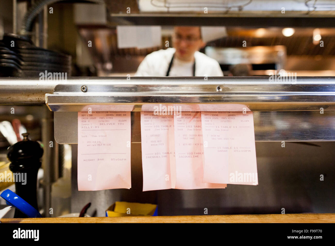 Cook And Detail Of Restaurant Order Ticket Slips In