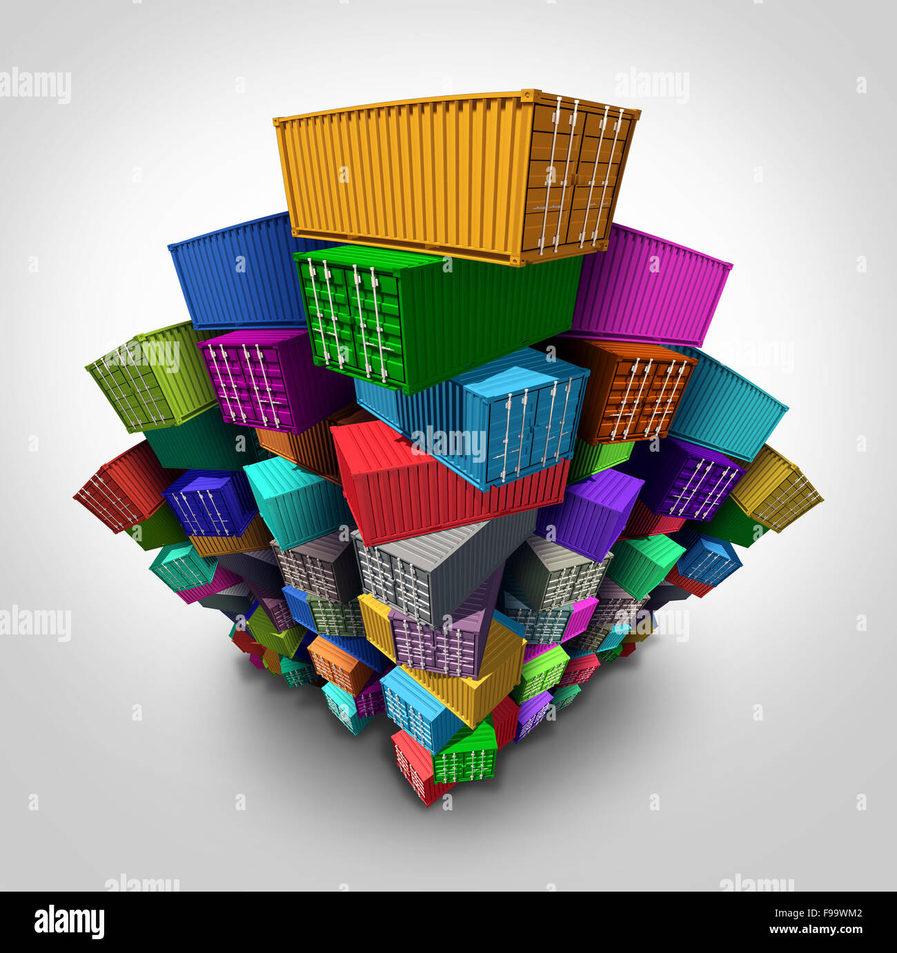 Cargo freight containers stacked high in a group as an export import shipping concept or embargo and sanctions symbol - Stock Image