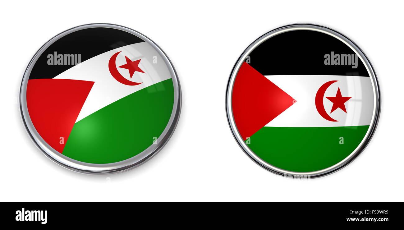 Banner Button Sahrawi Arab Democratic Republic - Stock Image
