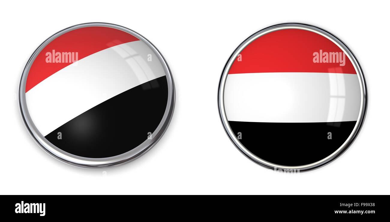 Banner Button Yemen - Stock Image