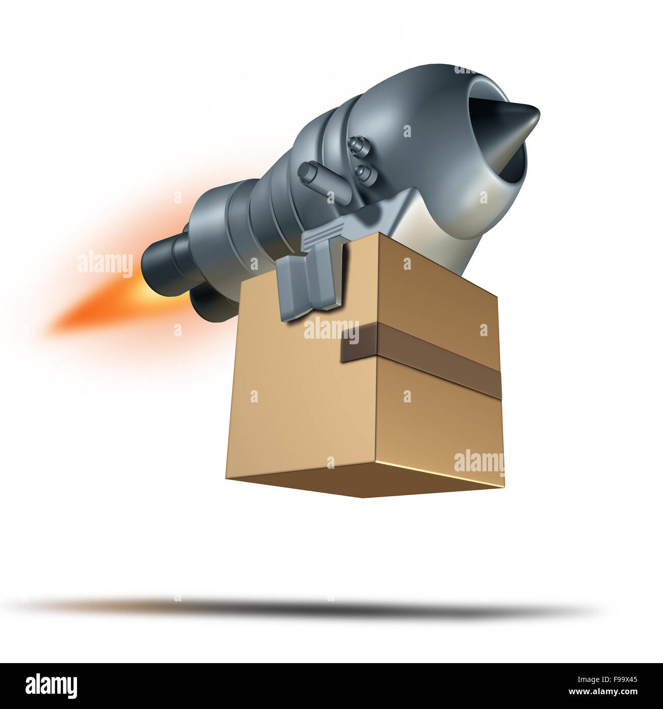 Express delivery service symbol and freight transport concept for fast courier shipping as a rocket engine blasting - Stock Image