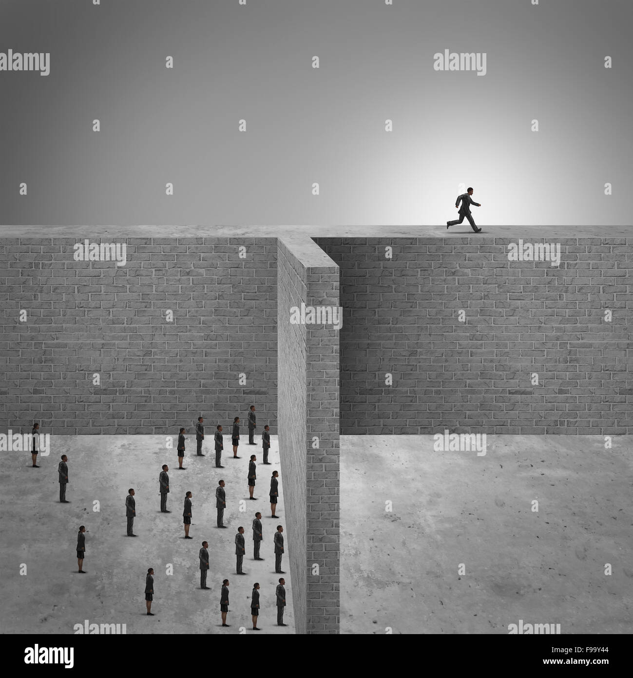 Think outside the box business success concept as a group of people trapped by high brick walls and a clever businessman - Stock Image