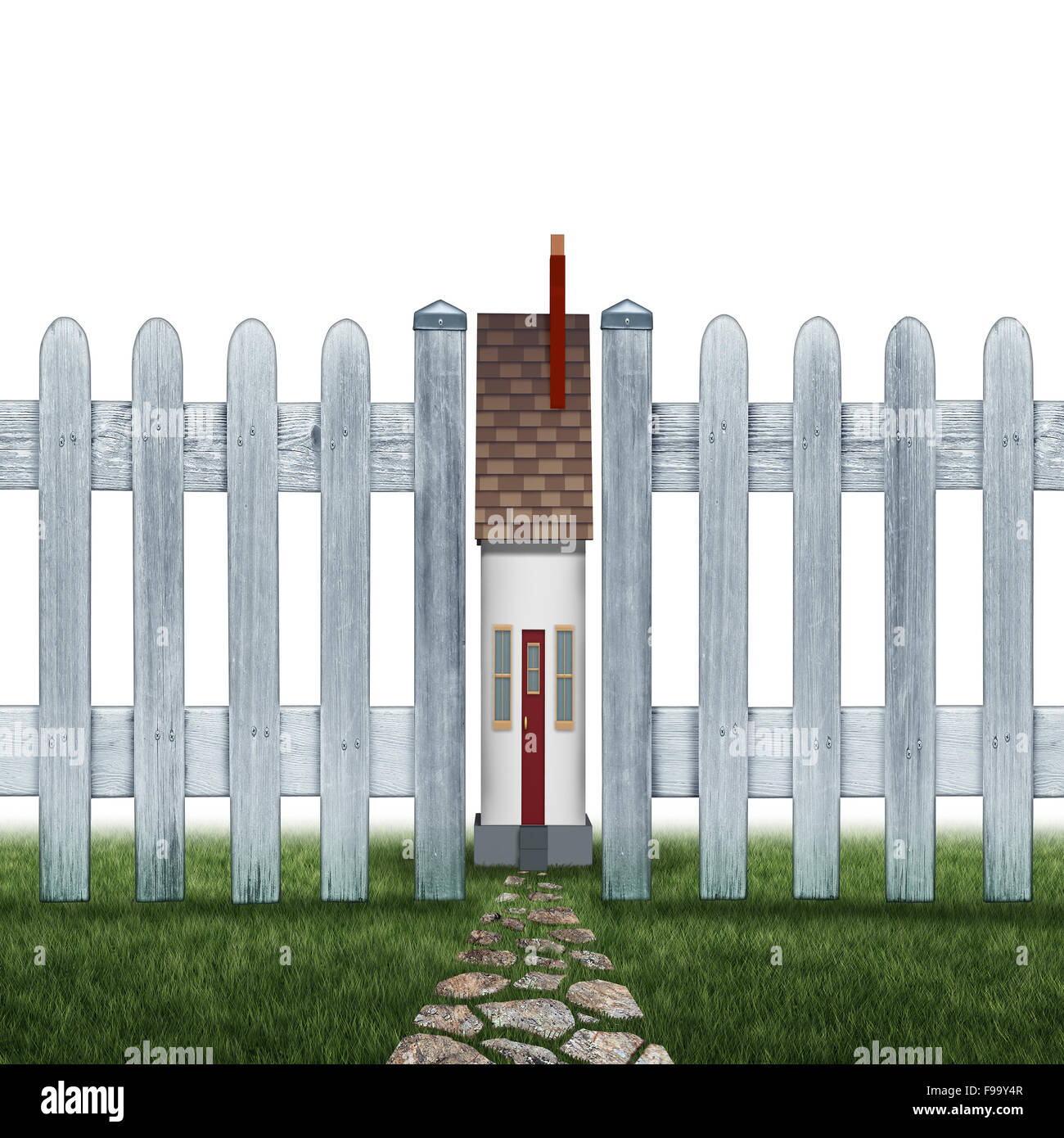 Tiny house and small home concept as a confined residence real estate symbol as a very narrow family house between - Stock Image