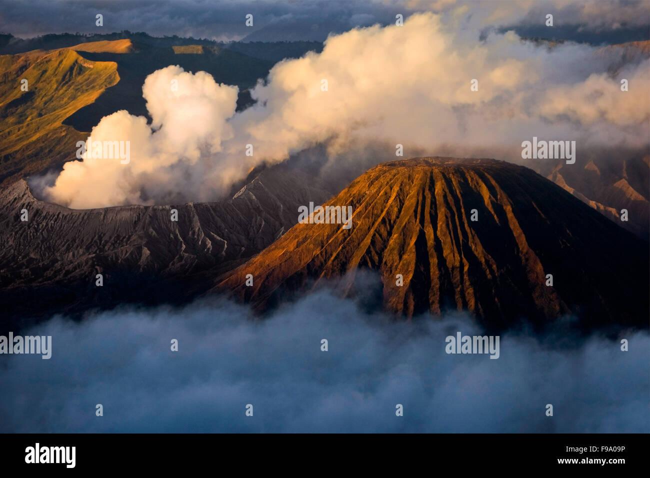 Bromo and Batok volcanoes, East Java, Indonesia. - Stock Image