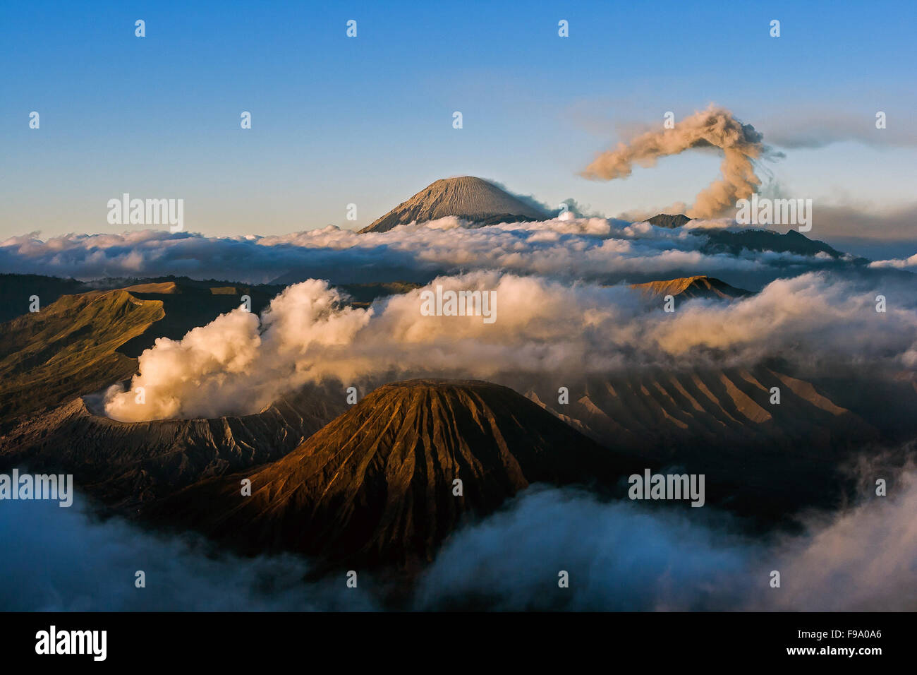 View of Bromo, Batok and Seremu volcanoes, East Java, Indonesia. - Stock Image