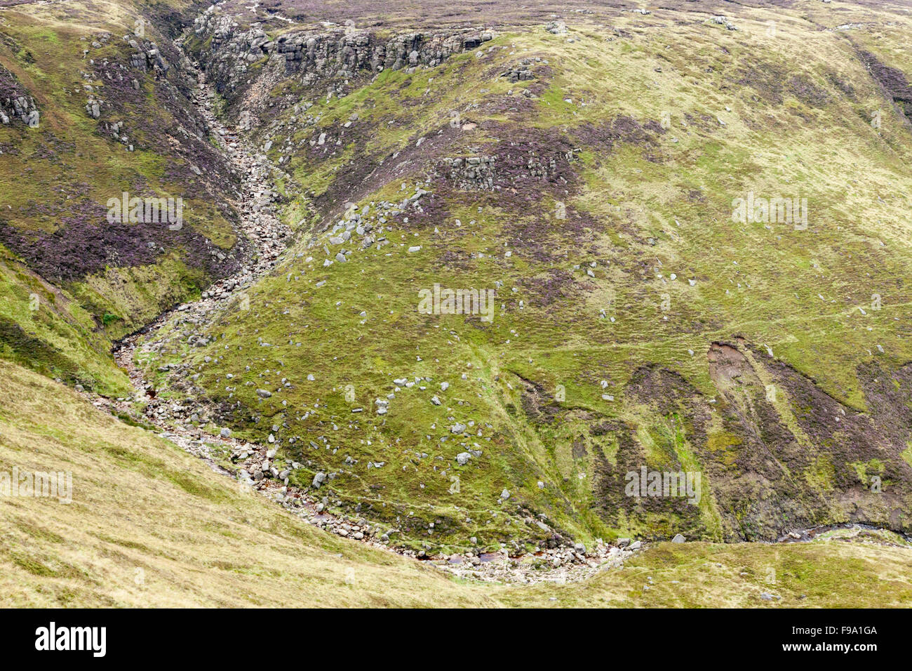 Looking down on Grindsbrook Clough on the southern edge of Kinder Scout in the Peak District, England, UK - Stock Image