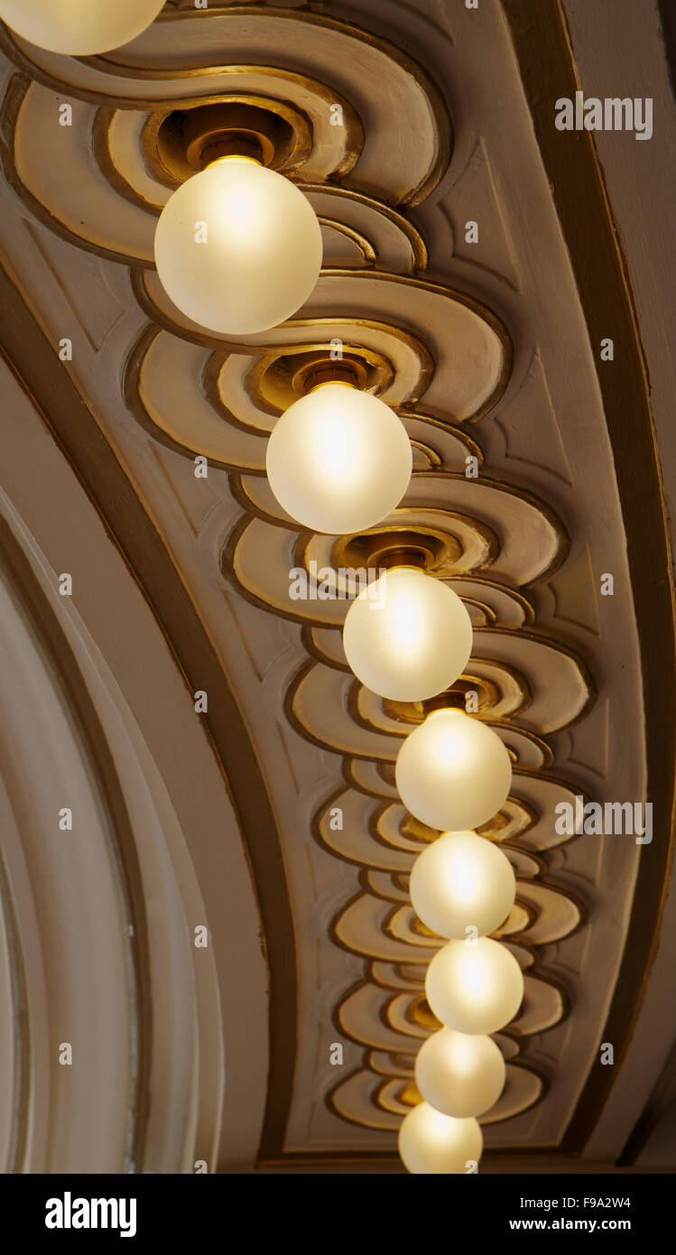 Curved row lights - Stock Image