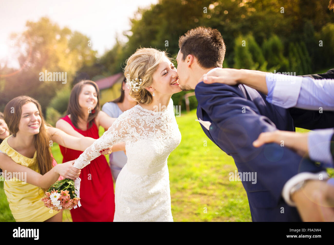 Funny portrait of newlywed couple kissing, bridesmaids and groomsmen pulling them away in green sunny park - Stock Image