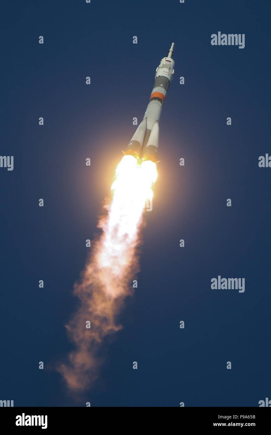 Baikonur, Kazakhstan. 15th Dec, 2015. Soyuz FG rocket with Soyuz TMA-19M carrying the ISS Expedition 46/47 crew - Stock Image