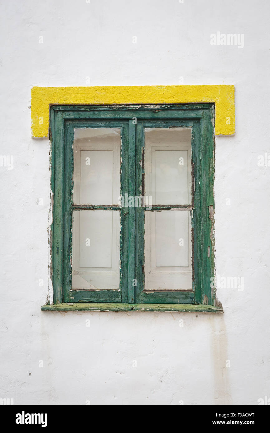 Painted window frame, Vila do Bispo, Algave, Portugal Stock Photo ...