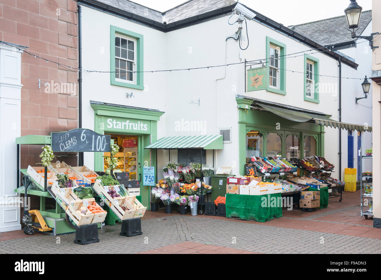 Starfruits vegetable shop or greengrocers in Penrith Cumbria UK Stock Photo