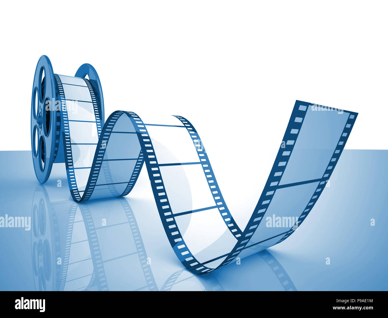 render of classic cinema film roll - Stock Image