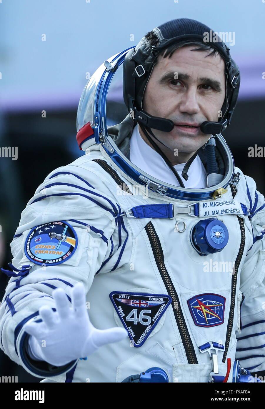 Baikonur, Kazakhstan. 15th Dec, 2015. ISS Expedition 46/47 crew member, Roscosmos cosmonaut Yuri Malenchenko before - Stock Image