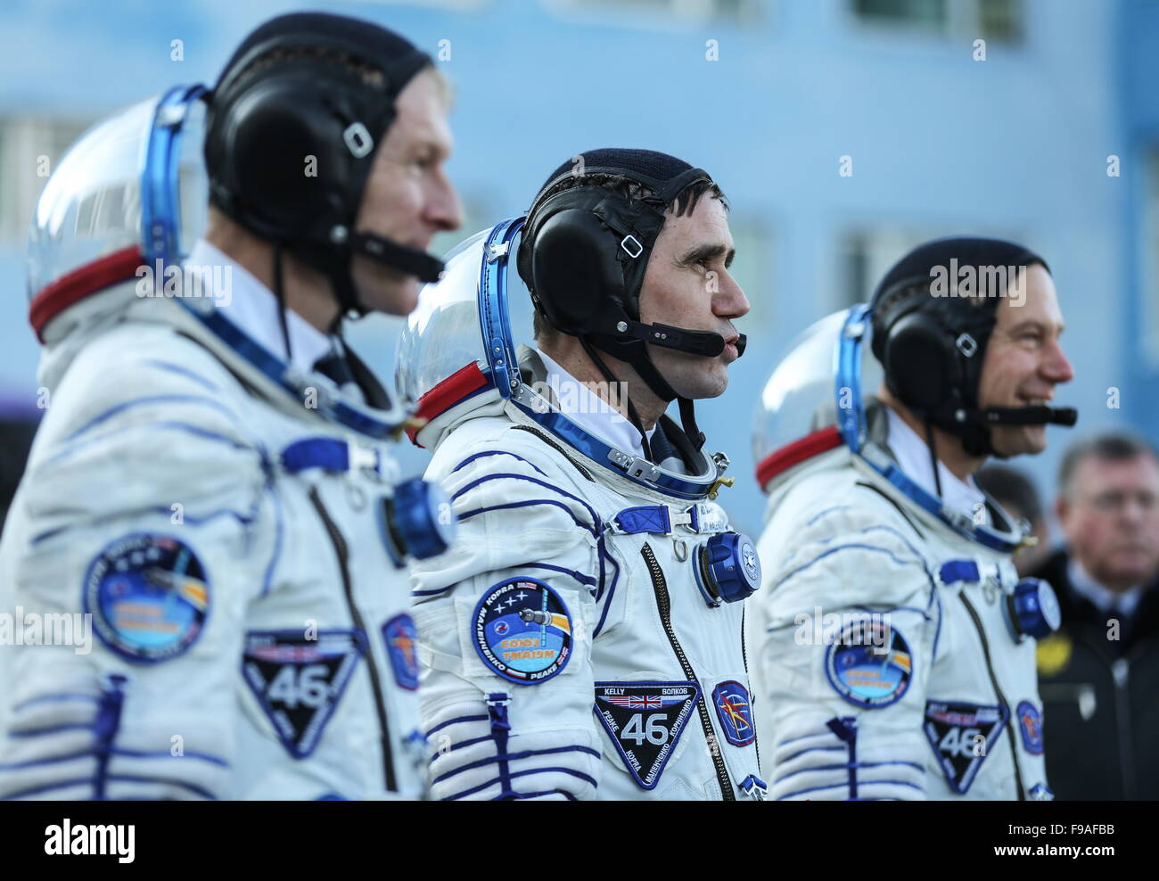 Baikonur, Kazakhstan. 15th Dec, 2015. ISS Expedition 46/47 crew members, ESA astronaut Timothy Peake, Roscosmos - Stock Image