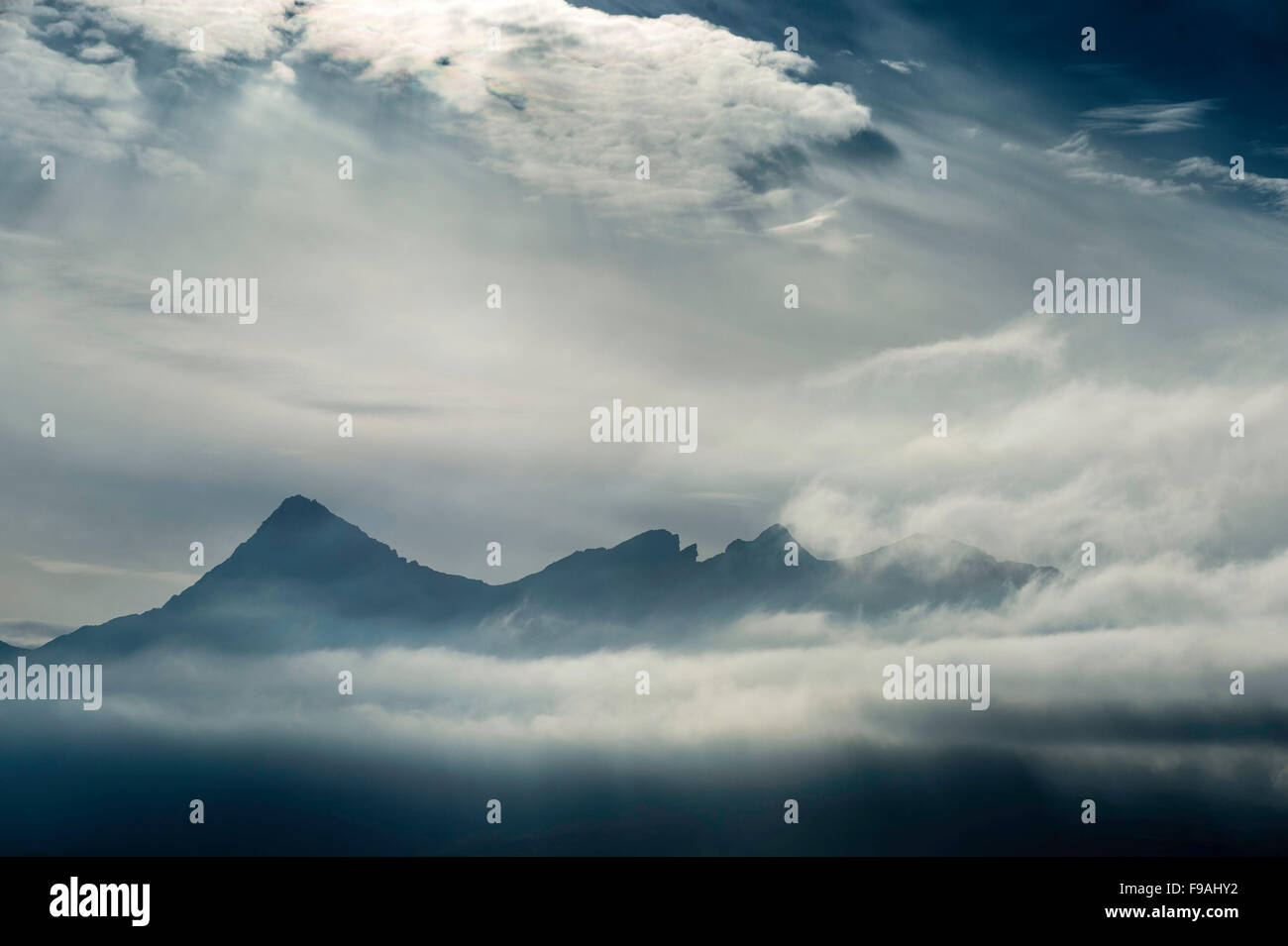 The Black Cuillin, Isle of Skye from Sligachan - Stock Image