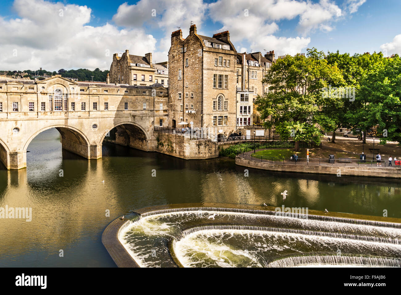 the Pulteney Bridge River Avon - Stock Image