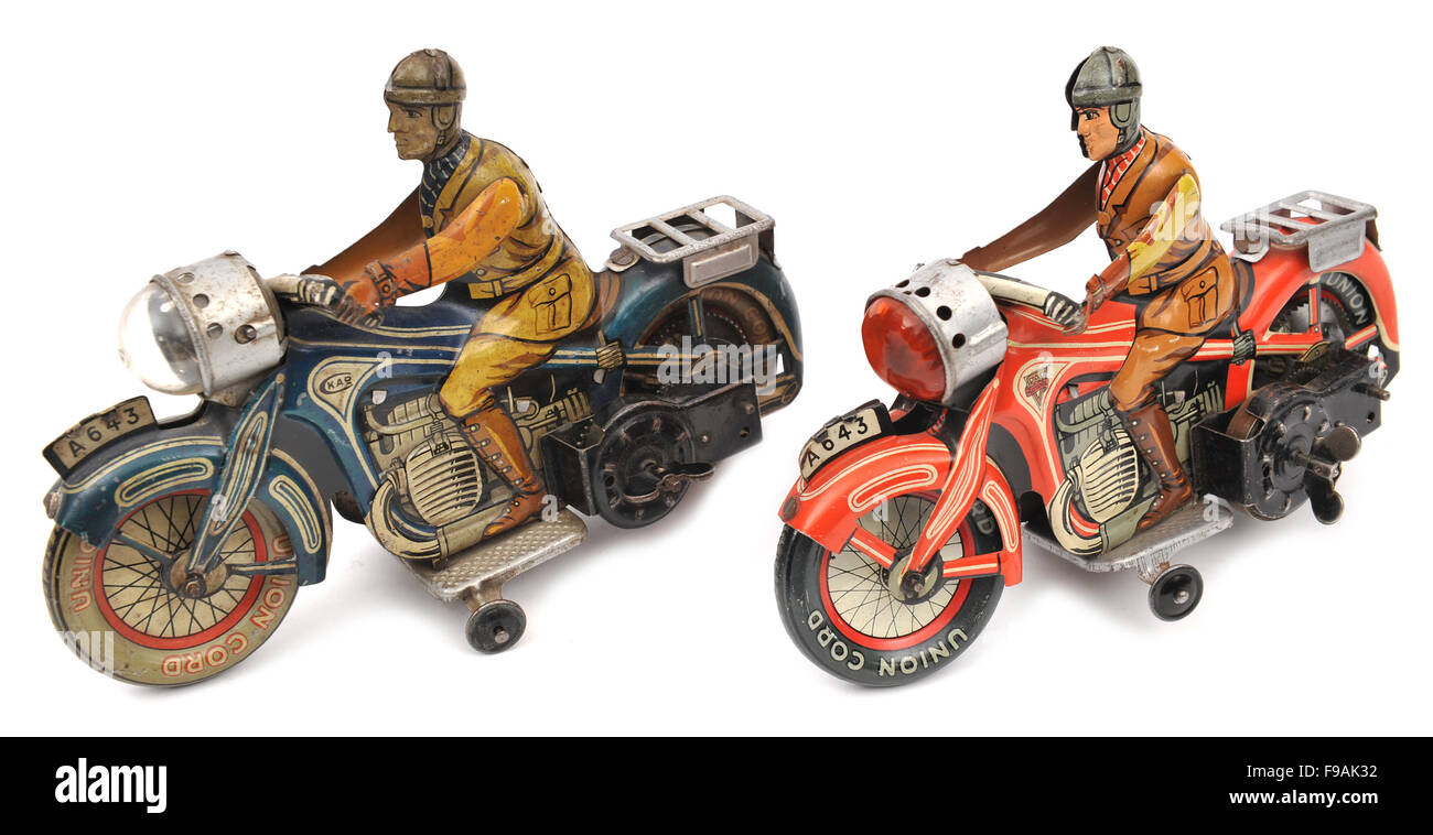 Children's Arnold A643 Clockwork tinplate motorcycle toys - Stock Image