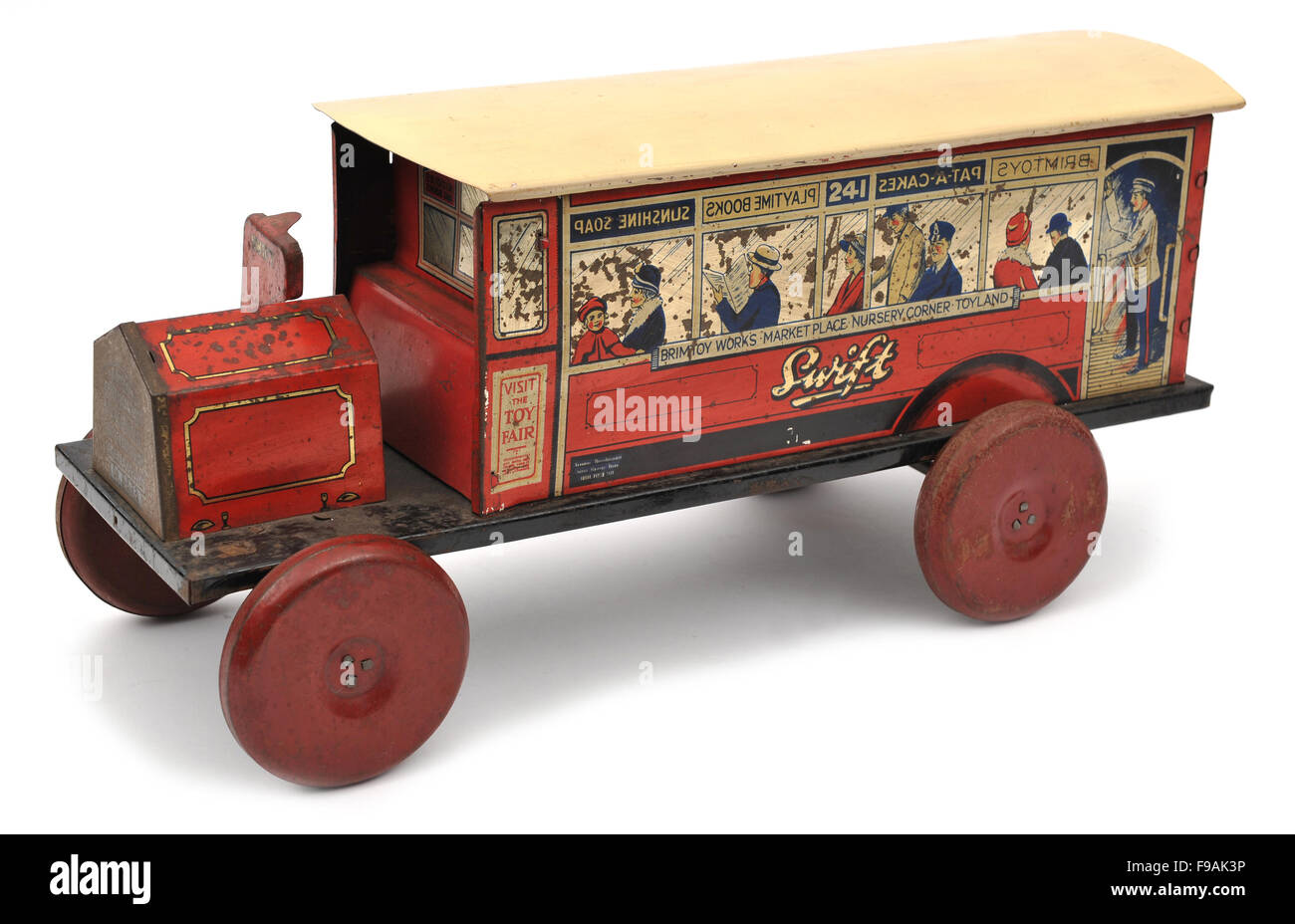 Children's Brimtoy (Mettoy) tinplate bus toy - Stock Image