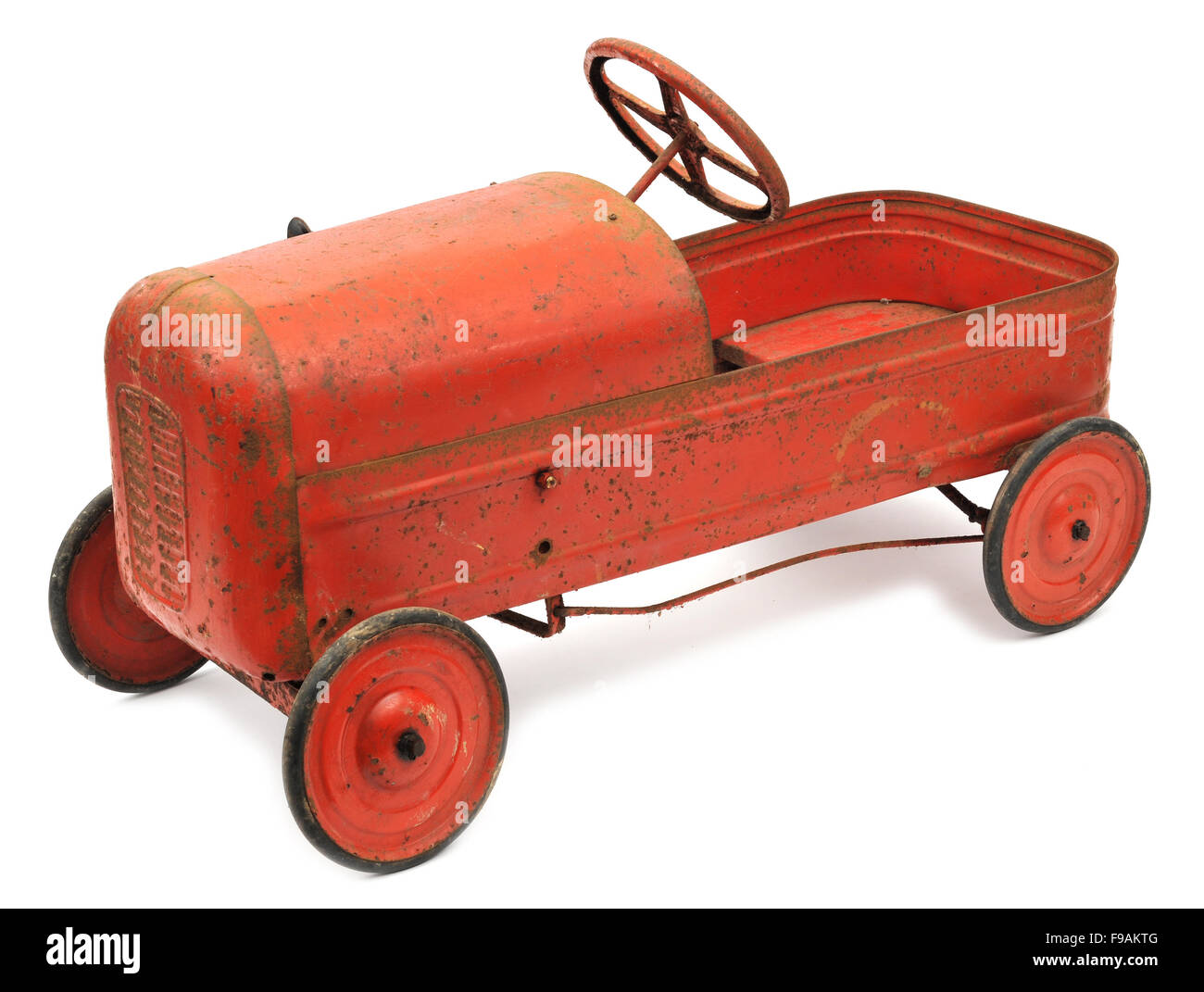 Children's 1940s Tri-ang tinplate pedal car toy - Stock Image