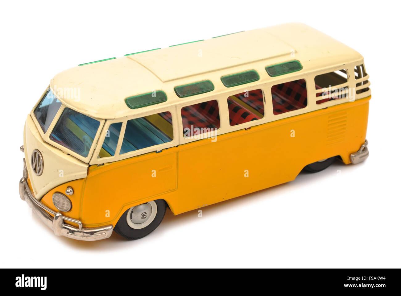 Children's tinplate Volkswagen Microbus toy - Stock Image