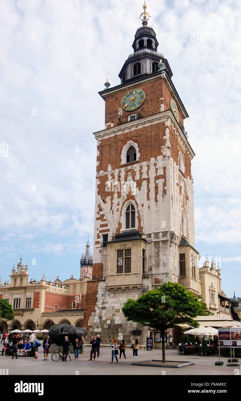 19th century Town Hall Tower (Wieża ratuszowa) in main Market Square (Rynek Glowny), Krakow, Poland, Europe - Stock Image