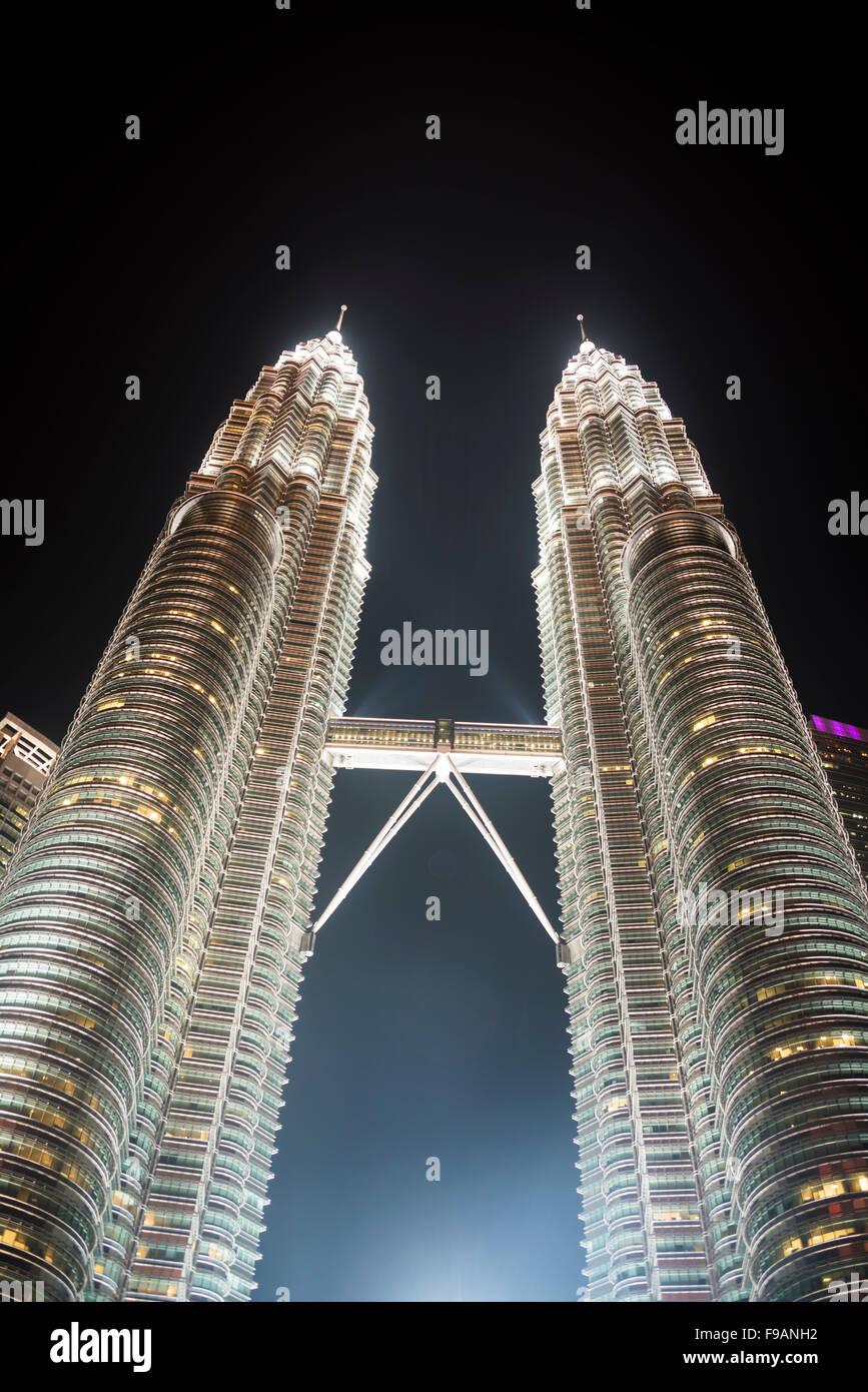 Petrona Towers at night, Kuala Lumpur, Malaysia - Stock Image