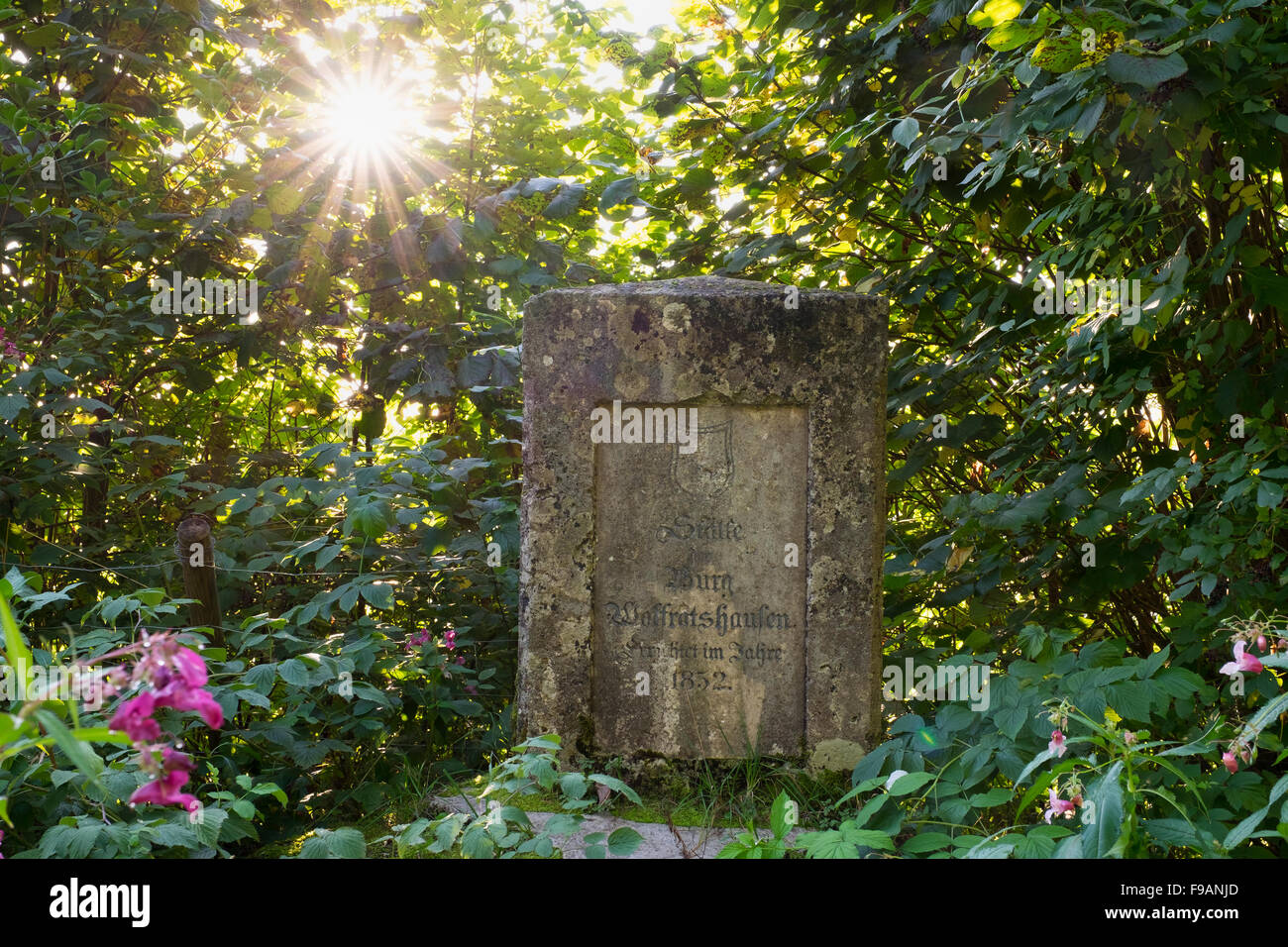 1852 memorial stone at the location of the former castle, Wolfratshausen, Upper Bavaria, Bavaria, Germany - Stock Image