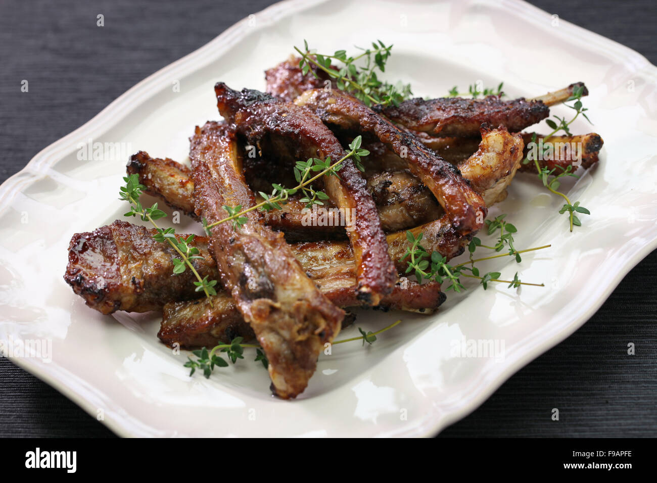 homemade spare ribs, american cuisine - Stock Image