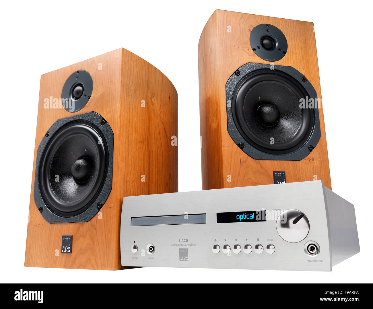 ATC music system. Includes CD player, DAC, amplifier and pair of loudspeakers. - Stock Image